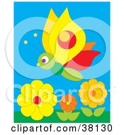 Clipart Illustration Of A Butterfly In A Orange And Yellow Flower Garden by Alex Bannykh