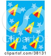 Clipart Illustration Of A Background Of Rockets And Stars On Blue