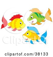 Clipart Illustration Of A Group Of Yellow Red Green Orange And Blue Fish