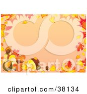 Clipart Illustration Of A Stationery Border Of Autumn Leaves And Mushrooms Over An Orange Background