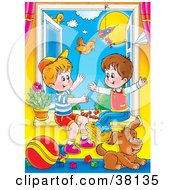 Clipart Illustration Of Two Little Boys Playing In An Open Window With Their Puppy On A Sunny Day