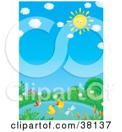 Clipart Illustration Of Two Ducklings Swimming In A Pond A Butterfly And Dragonfly Flying Over Them On A Sunny Day by Alex Bannykh