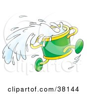 Clipart Illustration Of A Running Green Bucket Splashing Water
