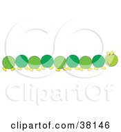 Clipart Illustration Of A Long Green Caterpillar by Alex Bannykh