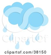 Clipart Illustration Of A Blue Cloud Casting Showers On A Spring Day On A White Background by Alex Bannykh