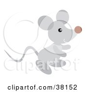 Clipart Illustration Of A Happy Gray Mouse by Alex Bannykh