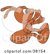 Clipart Illustration Of A Climbing Brown Ant by Alex Bannykh