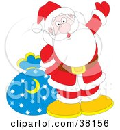 Clipart Illustration Of Santa Waving With His Toy Sack