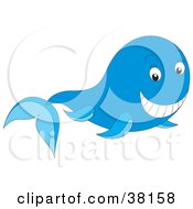 Clipart Illustration Of A Friendly Whale Smiling by Alex Bannykh