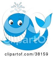 Clipart Illustration Of A Spouting Smiling Whale by Alex Bannykh