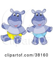 Clipart Illustration Of Hippos In Blue And Yellow Diapers by Alex Bannykh