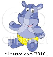 Clipart Illustration Of A Purple Hippo In A Yellow Diaper by Alex Bannykh