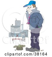 Clipart Illustration Of A Poor Man Standing Outside A Closed Factory With Money In A Hat by Alex Bannykh