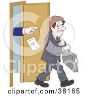 Clipart Illustration Of A Boss Pointing Out And Yelling After A Man