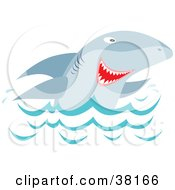 Clipart Illustration Of A Shark Peeping Up Over Waves