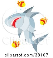 Clipart Illustration Of A Group Of Fish Swimming Around A Shark by Alex Bannykh