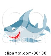 Clipart Illustration Of A Happy Shark Swimming With Bubbles