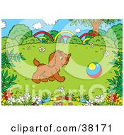 Clipart Illustration Of A Brown Dog Chasing A Ball In A Spring Field
