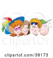 Clipart Illustration Of Two Men And Two Women With Hats And Sunglasses by Alex Bannykh