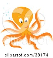 Clipart Illustration Of A Friendly Orange Octopus With Bubbles