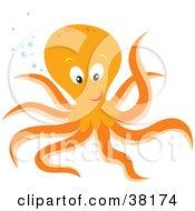 Friendly Orange Octopus With Bubbles