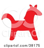 Clipart Illustration Of A Red Silhouetted Horse by Alex Bannykh