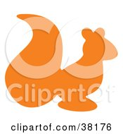 Clipart Illustration Of An Orange Silhouetted Squirrel