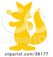Clipart Illustration Of A Yellow Silhouetted Fox by Alex Bannykh