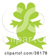 Clipart Illustration Of A Green Silhouetted Froggy