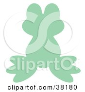Clipart Illustration Of A Light Green Silhouetted Frog