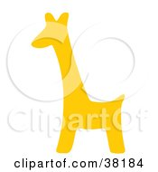 Clipart Illustration Of A Yellow Silhouetted Giraffe