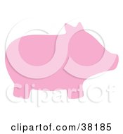 Clipart Illustration Of A Pink Silhouetted Pig by Alex Bannykh