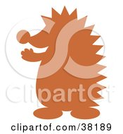 Clipart Illustration Of A Brown Silhouetted Hedgehog