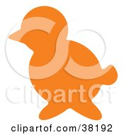 Clipart Illustration Of An Orange Silhouetted Bird