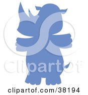 Clipart Illustration Of A Blue Silhoeutted Rhino