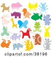 Clipart Illustration Of Colorful Animal Silhouettes by Alex Bannykh