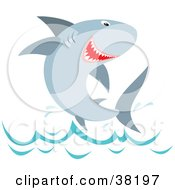 Clipart Illustration Of A Happy Shark Leaping Out Of The Water by Alex Bannykh