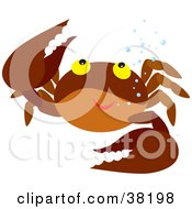 Clipart Illustration Of A Friendly Brown Crab With Bubbles by Alex Bannykh