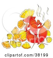 Clipart Illustration Of A Bright Red Lobster With Shells by Alex Bannykh