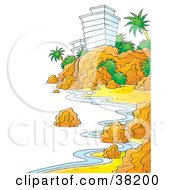 Clipart Illustration Of A Shoreline Along A Rocky Coast With A Hotel On The Cliffs by Alex Bannykh