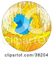 Clipart Illustration Of A View Of Mountains Through A Cave