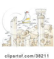 Clipart Illustration Of A Sailboat Near Ancient Architectural Ruins With Columns