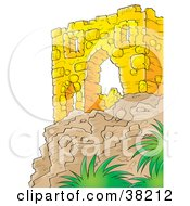 Clipart Illustration Of A Wall Of Ancient Ruins On Top Of A Cliff