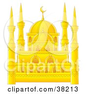 Clipart Illustration Of A Beautiful Golden Mosque