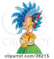 Clipart Illustration Of A Tribal Man In A Skirt And Jewelry Wearing Feathers And Holding A Spear