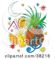 Juice Cocktail In Front Of A Pineapple And Orange Slice With Sparkles And A Music Note Under A Crescent Moon