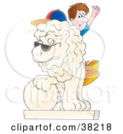 Clipart Illustration Of A Male Tourist Sitting On A Lion Statue And Waving