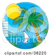 Clipart Illustration Of A Sun Shining On A Sailboat Near A Hotel And Palm Tree On A Bay by Alex Bannykh