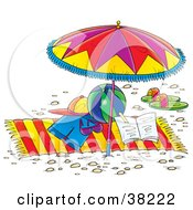 Clipart Illustration Of Clothes Toys And Sandals On A Beach Towel Under An Umbrella by Alex Bannykh