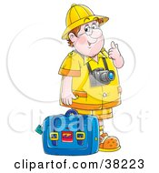 Clipart Illustration Of A Friendly Chubby Male Tourist Wearing A Camera And Standing With Luggage